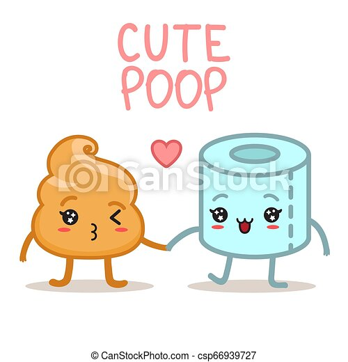 Kawaii Poo And Toilet Paper Vector Illustration Kawaii Poop And Toilet Paper Character Cute Emoji Smile Crap Funny Poo Canstock