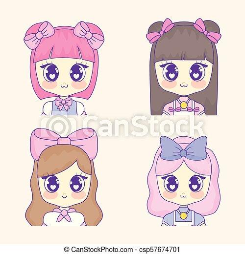 Kawaii Ragazza Disegno Anime Kawaii Set Colorito Sopra