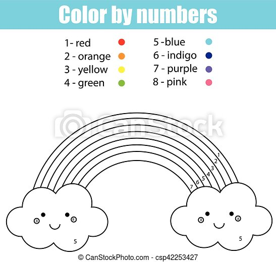 Kawaii, reizend, färbung, farbe, rainbow., zahlen, seite. Kawaii ...