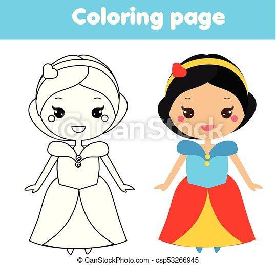 Kawaii, reizend, färbung, printable, game., zeichen, prinzessin ...