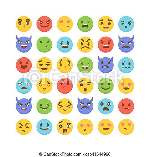 Kawaii Rigolote Ensemble Emoticons Mignon Icons Plat Avatars Emoji Dessin Animé Faces Design