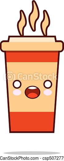 kawaii, schattig, koffie, cup., character., stijl, hand, pictogram, getrokken, het glimlachen, vriendelijk, spotprent - csp50727798
