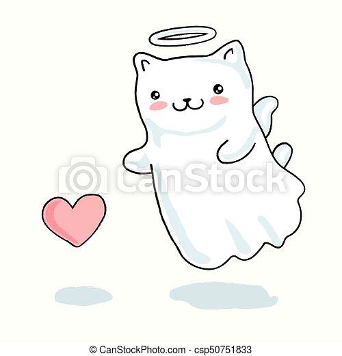 Kawaii Serce Mały Anioł Skrzydełka Kot Japończyk Styl