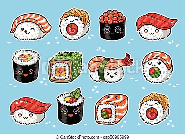 Kawaii Set Sushi Illustration Manga Vecteur Dessin Animé Rouleaux