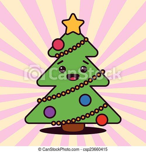kawaii, sourire, arbre, noël, figure - csp23660415