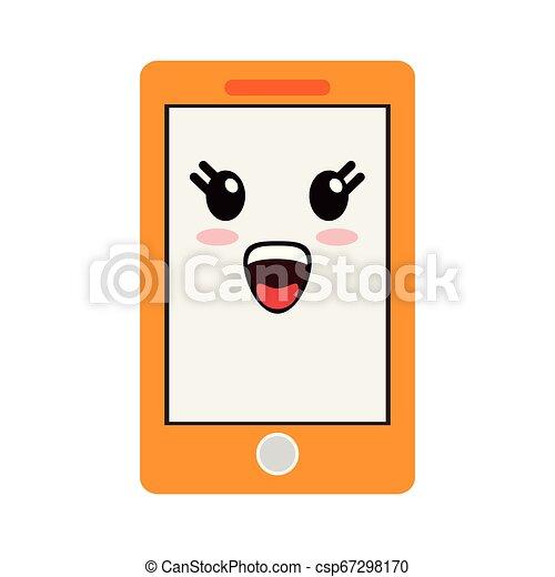 kawaii, sourire, smartphone, dessin animé - csp67298170