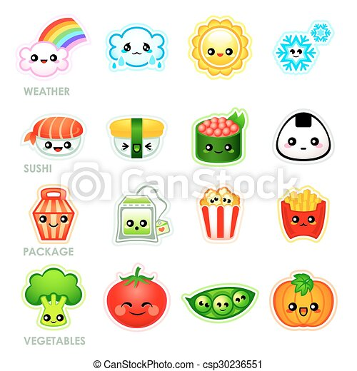 Favoloso Kawaii stickers - set ii. Cute japanese stickers with clipart  ZH29