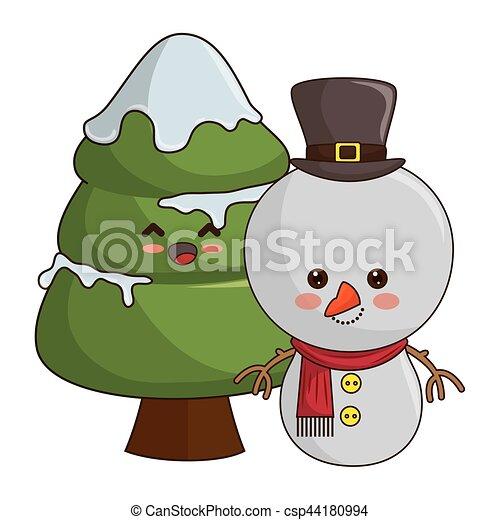 Disegni Di Natale Kawaii.Kawaii Stile Albero Natale Allegro