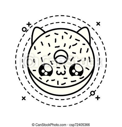 Kawaii Style Cadre Chat Beignet Délicieux Figure Circulaire