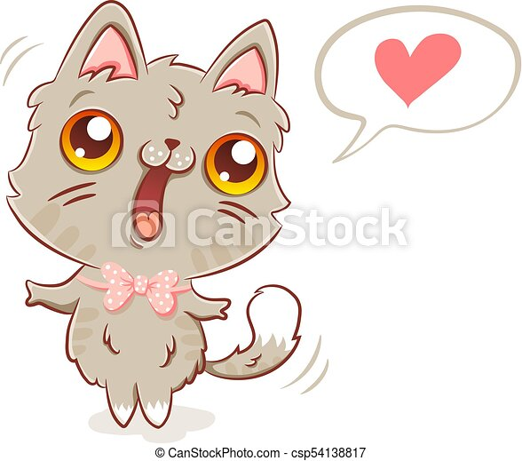Kawaii Style Gato Kawaii Cute Heart Gatinho Ilustracao
