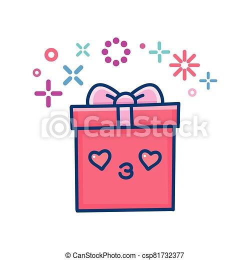 kawaii valentine gift box illustration - csp81732377