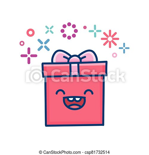 kawaii valentine gift box illustration - csp81732514