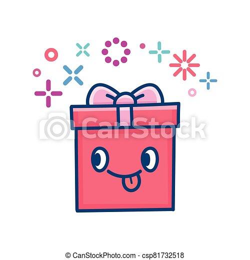 kawaii valentine gift box illustration - csp81732518
