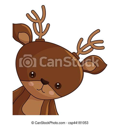 Kawaii Zeichen Rentier Frohe Weihnacht Glücklich Kawaii
