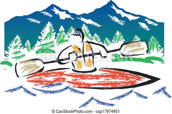 Vector Crayon kayak - csp17974451