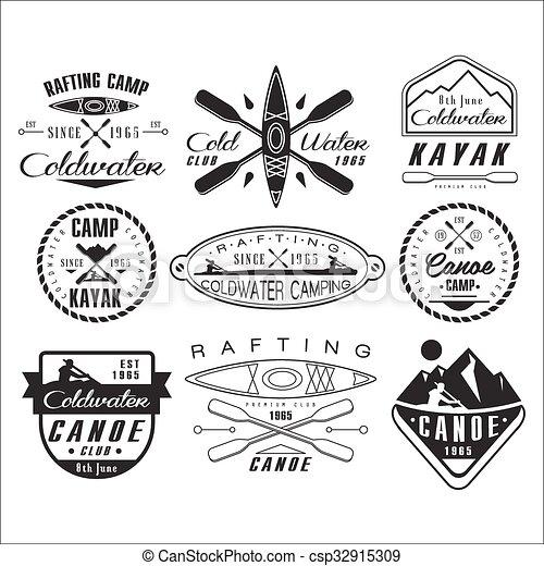 Kayak And Canoe Emblems Badges Design Elements