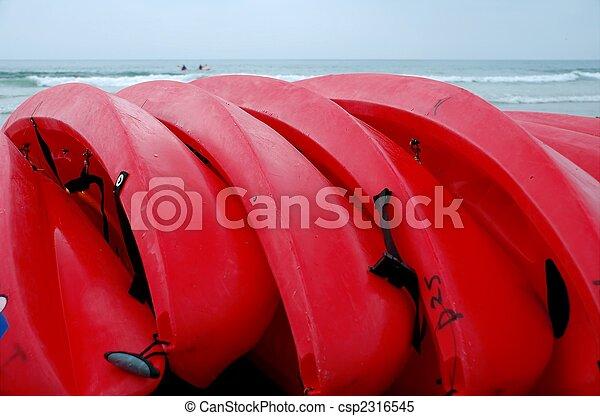 kayak, luminoso, california, mare, spiaggia, rosso, fila - csp2316545