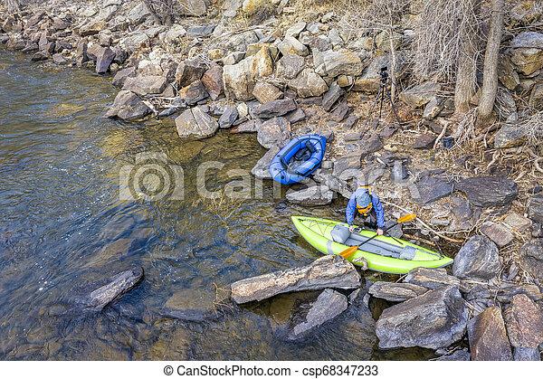 kayak, packraft and paddler aerial view - csp68347233