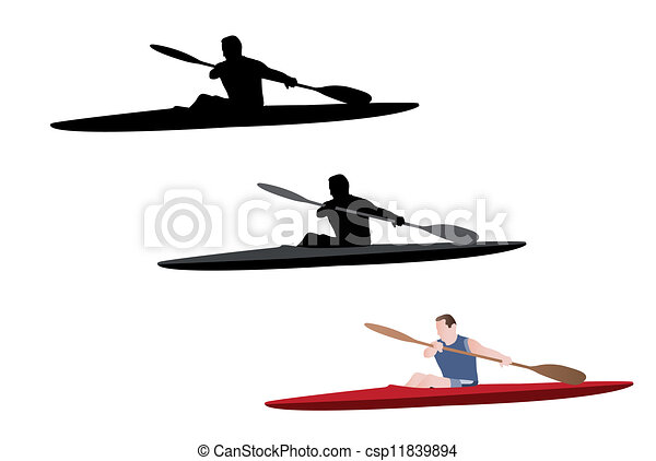 Kayaking Silhouette And Illustration