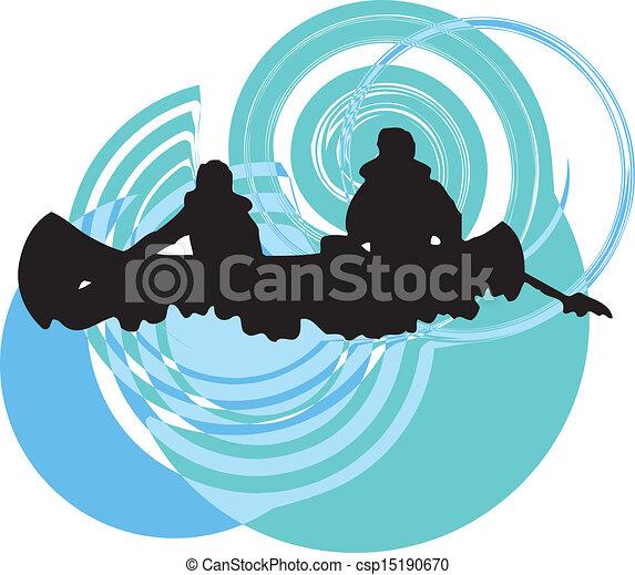 Kayaking in river. Vector illustrat - csp15190670