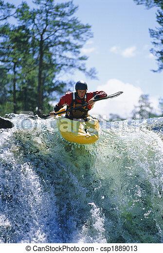 kayaking, jeune, chute eau, homme - csp1889013