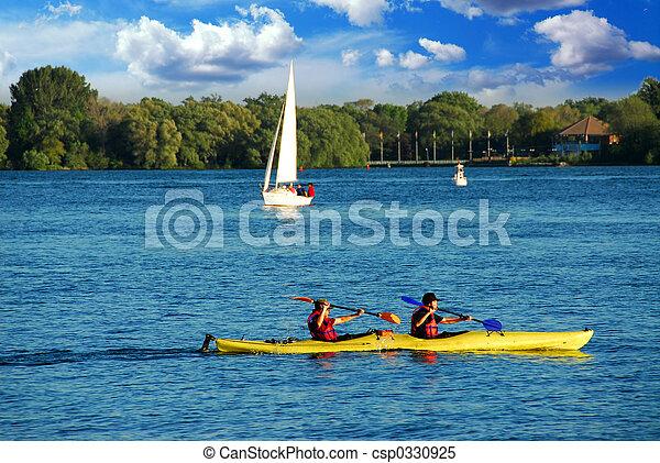 kayaking, lac - csp0330925