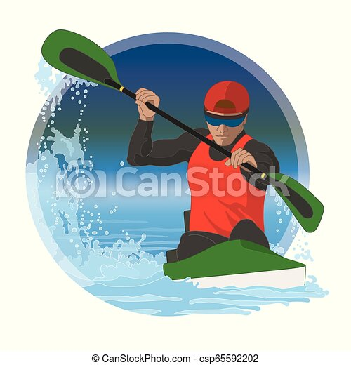 kayaking male in water racing with border circle in background - csp65592202
