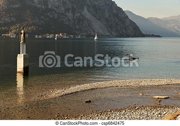 Kayaking on Lake Como at Lecco Italy - csp6842475