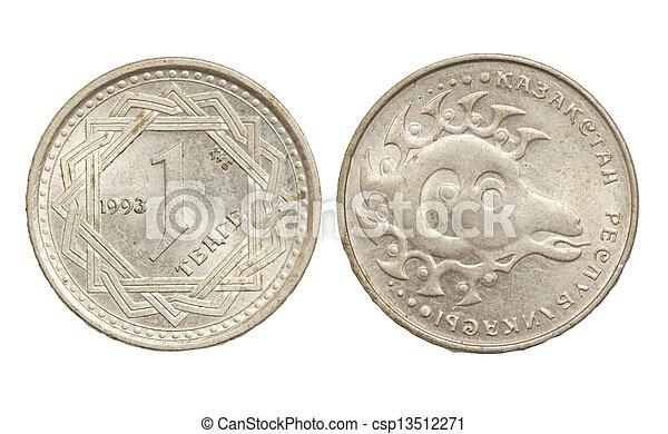 Kazakhstan coin on a white background - csp13512271