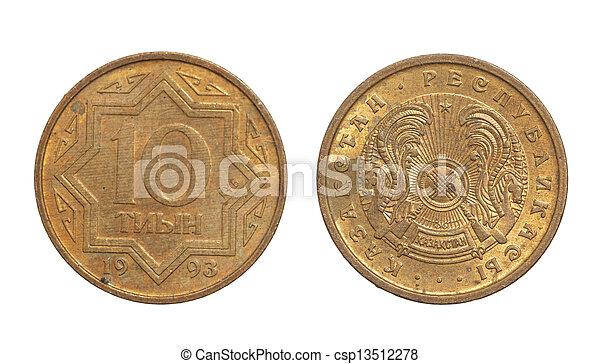 Kazakhstan coin on a white background - csp13512278