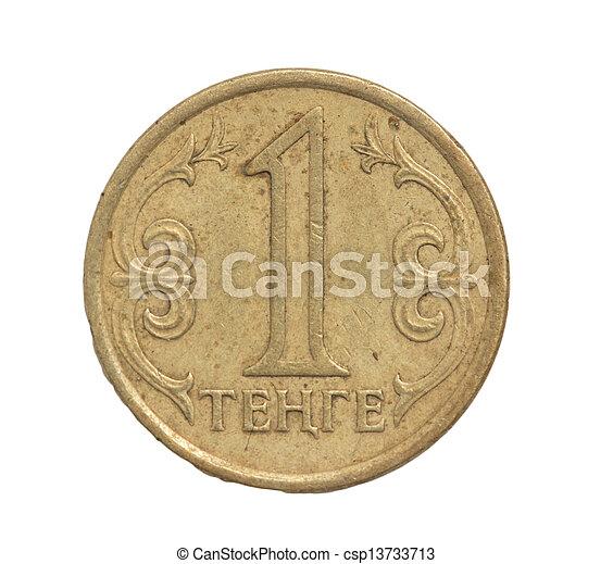 Kazakhstan coin on a white background - csp13733713