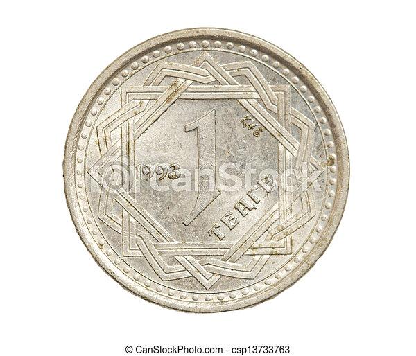 Kazakhstan coin on a white background - csp13733763