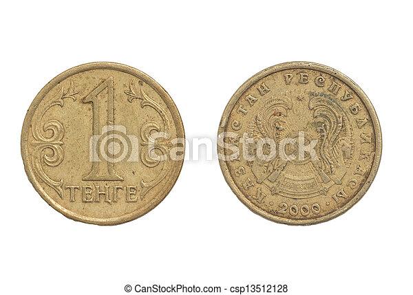 Kazakhstan coin on a white background - csp13512128