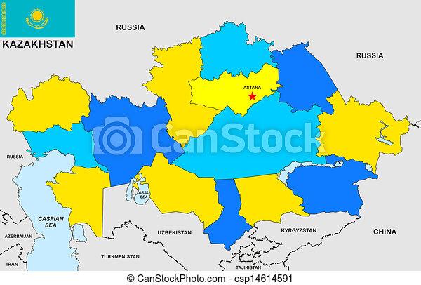 Kazakhstan Political Map.Kazakhstan Map Very Big Size Kazakhstan Political Map With Flag