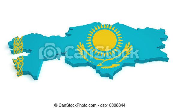 Kazakhstan map flag shape. Shape 3d of kazakh map with ...
