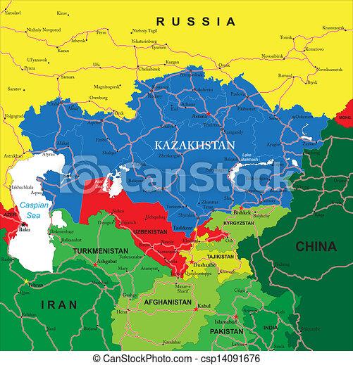 Kazakhstan map. Highly detailed vector map of kazakhstan ...