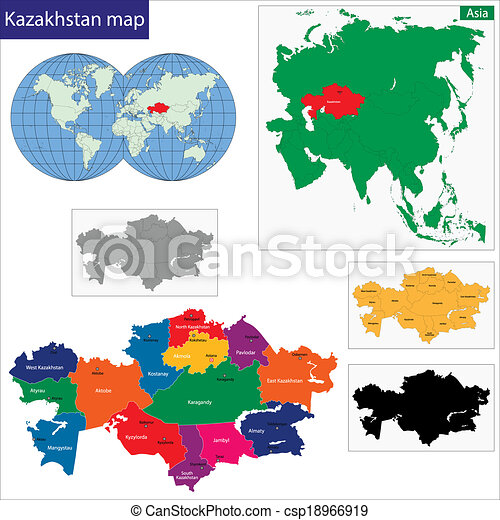 Kazakhstan map Map of administrative divisions of vector clip