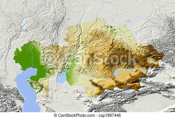Kazakhstan shaded relief map colored according to elevation for kazakhstan shaded relief map csp1897446 publicscrutiny Image collections