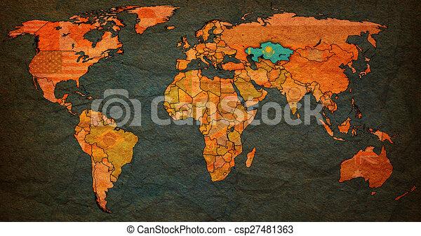 Kazakhstan territory on world map kazakhstan flag on old stock kazakhstan territory on world map csp27481363 gumiabroncs Images