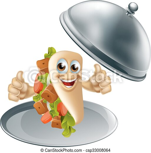 Kebab Character on Serving Dish - csp33008064