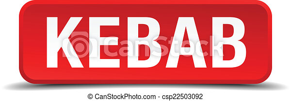 Kebab red 3d square button isolated on white - csp22503092
