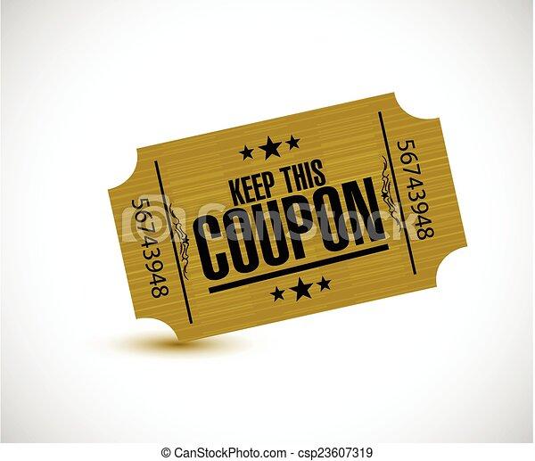 keep this coupon. yellow ticket illustration - csp23607319