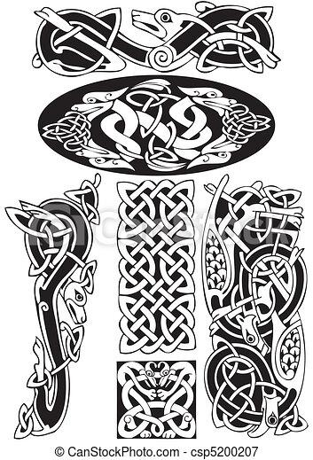 keltisch, vector, art-collection. - csp5200207