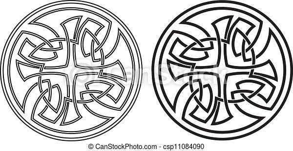keltisch, vector, set, ronde, ornament. - csp11084090
