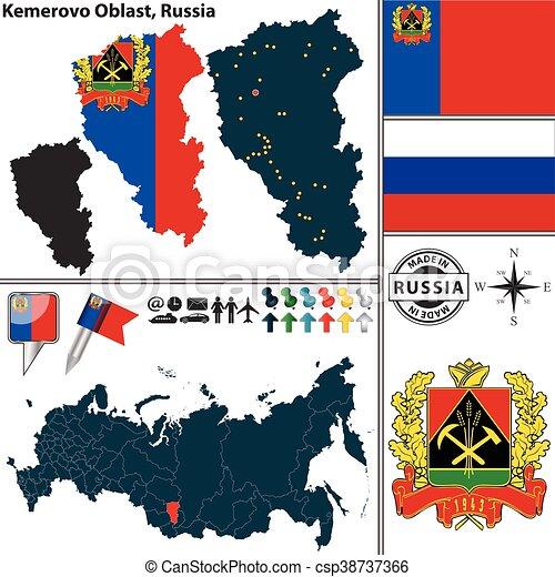 Kemerovo oblast russia Vector map of kemerovo oblast with clip