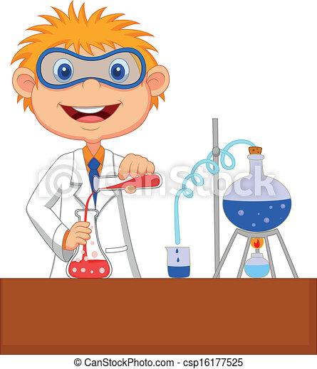 kemisk, dreng, experime, cartoon - csp16177525