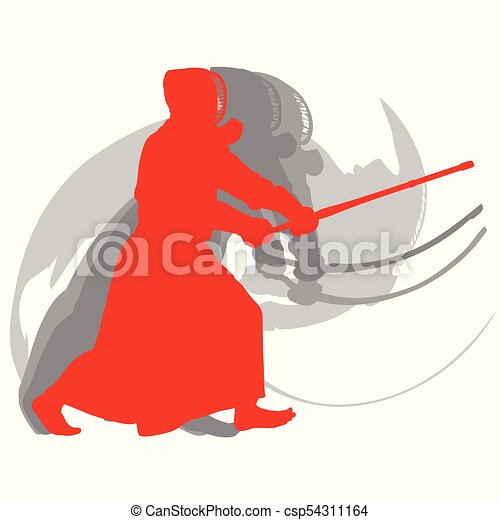Kendo fighter red silhouette with shinai isolated on white background abstract - csp54311164