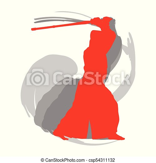 Kendo fighter red silhouette with shinai isolated on white background abstract - csp54311132