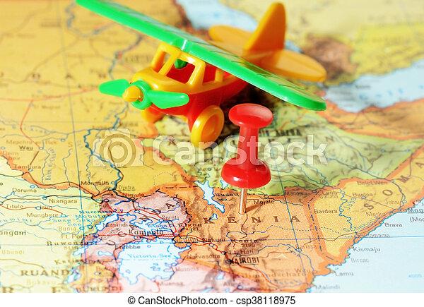 Kenia Africa map airplane - csp38118975