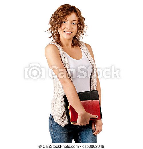 kennis, concept, doel, studeren, boekjes , jonge, opleiding, student, vasthouden, meisje, vrolijke  - csp8862049